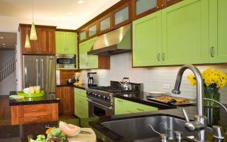 Сочетание цветов в интерьере кухни: зеленый, коричневый, серый