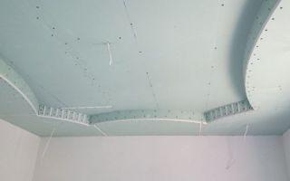 Установка потолков из гипсокартона в зале